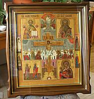 Киот фигурный из ольхи для старинной иконы с внутренней деревянной рамой и золочёными штапиками., фото 4