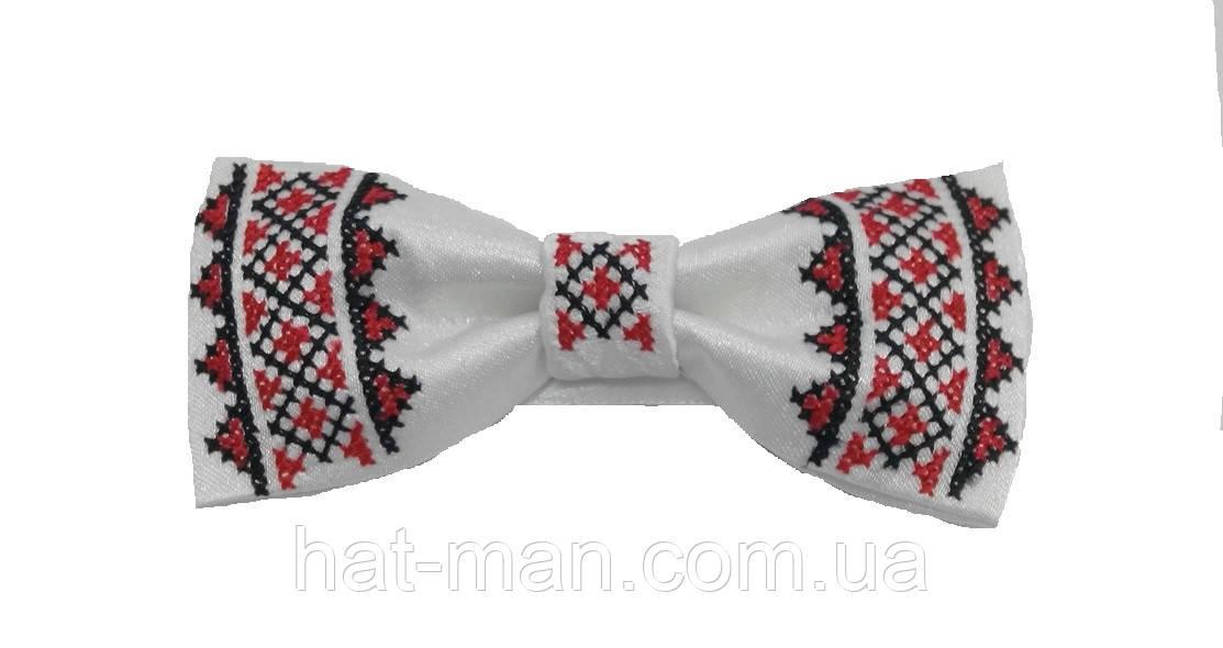 Краватка - метелик з вишивкою, біла