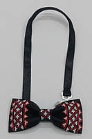 Краватка - метелик з вишивкою, чорна
