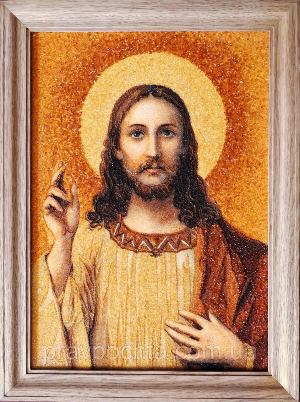 Спаситель. Икона из янтаря