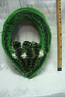 Венок-V зеленый, на каркасе (50 х 35 см)