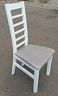Стул Прага белый, деревянный, мягкое сиденье, тведая спинка