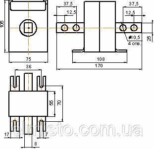 Габаритні, установочні і приєднувальні розміри трансформаторів струму Т-0,66 600/5