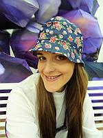 Джинсовая шляпа панама в цветочек unisex