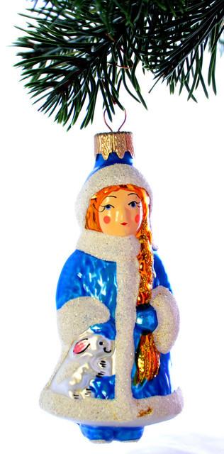 Елочная игрушка Снегурочка в синей шубке ЛВ 1863