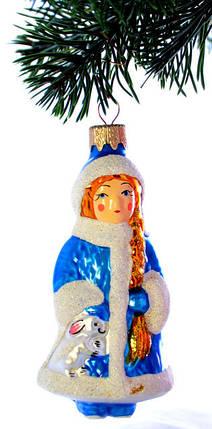 Елочная игрушка Снегурочка в синей шубке ЛВ 1863, фото 2