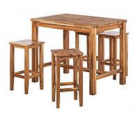 Барный комплект стол барный и 4 барных стула из массива дуба 001