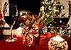 Корзинка новогодняя украшенная золото + красная 0502 RG, фото 2