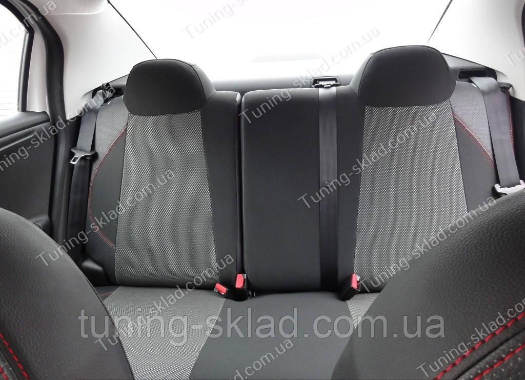 Чехлы на сиденья Ситроен С-Элизе (чехлы из экокожи Citroen C-Elysee стиль Premium)