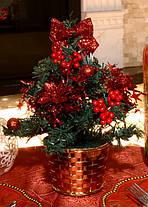 Елка маленькая украшенная красная 20см 0424 R, фото 2