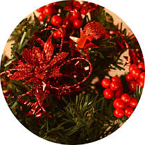 Елка маленькая украшенная красная 20см 0424 R, фото 3