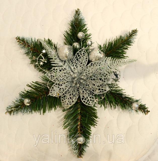 Звезда рождественская украшенная серебро 0500 S