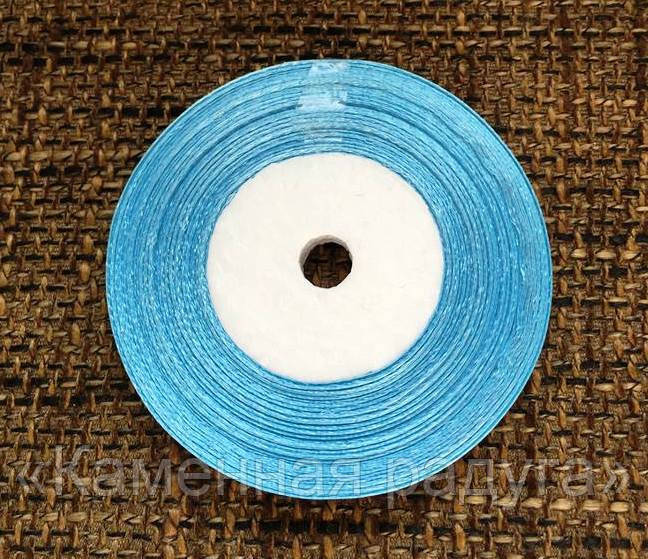 Лента атласная для упаковки подарков, цвет голубой (метраж 23 м, ширина 5 мм)