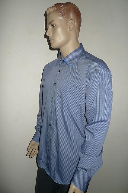 Голубая рубашка AYGEN (Турция) в мелкую полоску