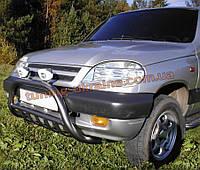 Защита переднего бампера кенгурятник низкий крашенный без надписи на Chevrolet Niva