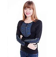 Вышитая женская футболка с длинным рукавом. Мережка синяя