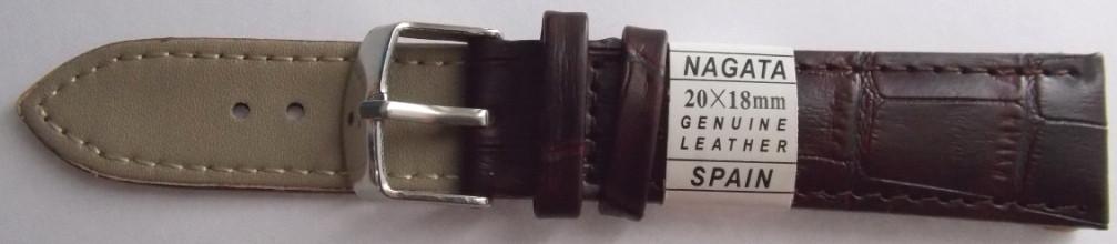 Ремешок кожаный NAGATA (ИСПАНИЯ) 20 мм, т.коричневый