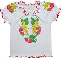 Вышиванка для девочки с коротким рукавом (интерлок)