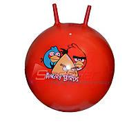 Мяч-прыгун с рожками d-60 см (оранжевый с рисунком)