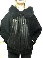 """Кожаная женская куртка """"летучая мышь"""" с капюшоном мехом   размер+"""