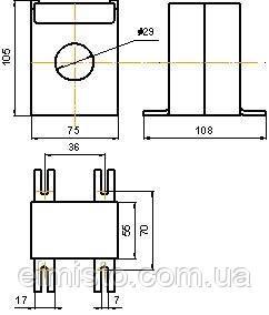 Габаритные, установочные и присоединительные размеры трансформаторов тока ТШ-0,66