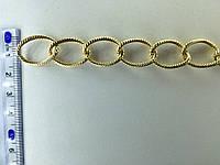 Цепь металлическая витая размер звена 20х15мм цвет золото