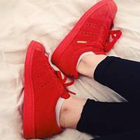 Женские кроссовки Adidas Superstar красные АТ-259