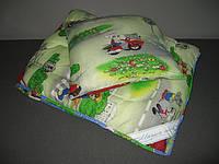 Детское одеяло с подушкой силиконовое холофайбер/поликоттон 110х140