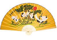 Веер настенный Восемь журавлей желтый шелк 90см