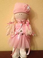 Кукла-девочка в розовом платье в стиле Тильда