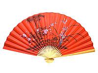 Веер настенный Бамбук с сакурой красный шелк 90см
