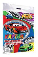 Цветной картон двухсторонний А4 СУПЕР, 8 цветов, 8 листов, блок бумага 170 г/м2, пакет с европодвесом