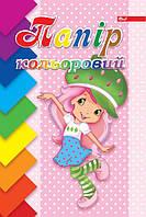 Цветная бумага А4, 8 цветов, 16 листов, полноцветная мелованная обложка, на скобе