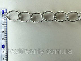Цепь металлическая витая размер звена 20х15мм цвет серебро