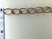 Цепь металлическая витая размер звена 20х15мм цвет медь