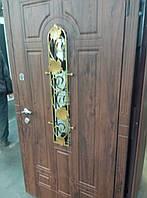 """Двери входные металлические Модель """"Лиана"""" (заказной цвет, стекло, ковка)"""