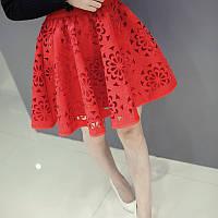Шикарная юбка перфорация в черном и красном цвете, фото 1