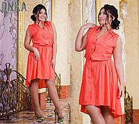 Платье летнее батальное асимметричное  № с 414/1 гл