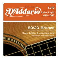 Струны D`ADDARIO EJ10 80/20 BRONZE EXTRA LIGHT 10-47