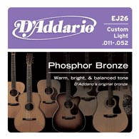 Струны D`ADDARIO EJ26 PHOSPHOR BRONZE CUSTOM LIGHT 11-52