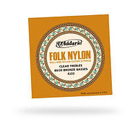 Струны D`ADDARIO EJ33 FOLK NYLON 80/20 Bronze Ball End Clear Treble