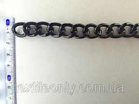 Цепь металлическая витая размер звена 18х14мм цвет черный