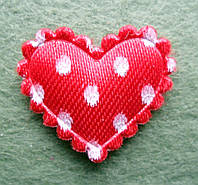 Аппликация пришивная. Сердце в горошек