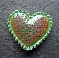 Аппликация пришивная. Сердце зеленое
