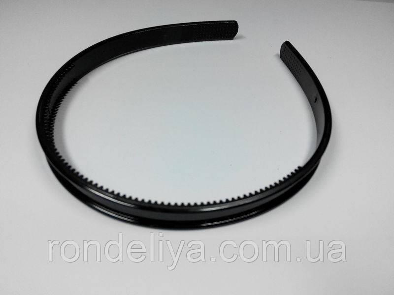 Обруч для волос черный 10 мм с углублением