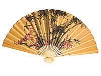 Веер настенный Бамбук с сакурой оранжевый шелк 90см