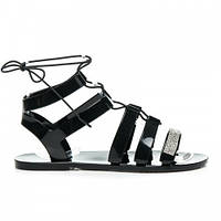 Резиновые женские сандалии черные с камнями на завязках