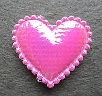 Аппликация пришивная. Сердце розовое