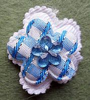Аппликация пришивная. Голубой цветочек