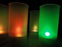 Электронная свеча цветная в стаканчике